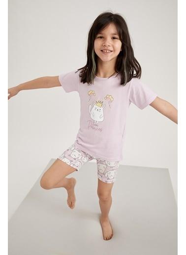 DeFacto Kız Çocuk Sevimli Kedi Kısa Kol Pijama Takımı Mor